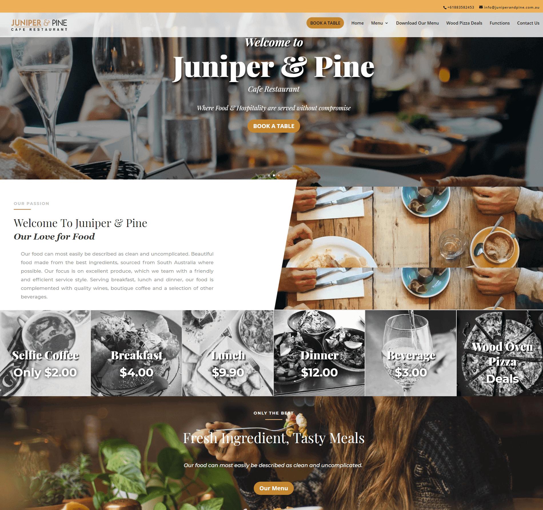 Juniper and Pine WordPress Based Restaurant Website